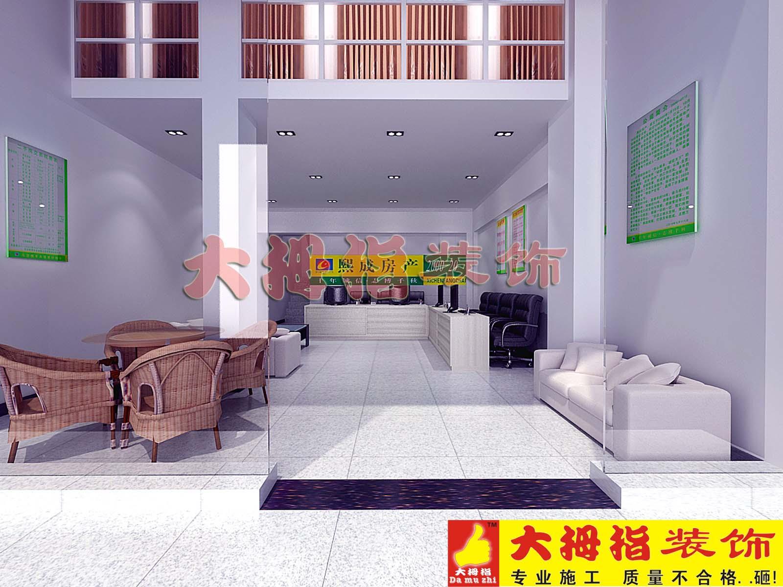接待大厅效果图 办公楼案例 大拇指建筑装饰